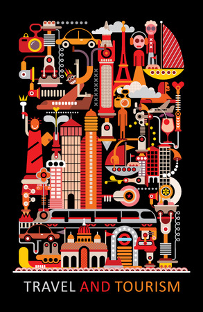 elizabeth tower: Art composition. Graphic design with text Travel and Tourism. Isolated vector illustration on black background.