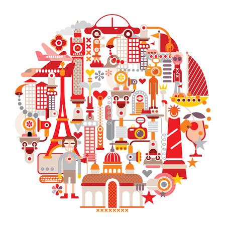 elizabeth tower: Travel and Tourism - isolated round vector illustration on white background. Graphic art design. Illustration