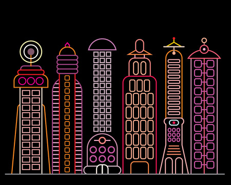neon lights: Neon City. Cityscape with modern office buildings - vector illustration. Neon light silhouette on black background.