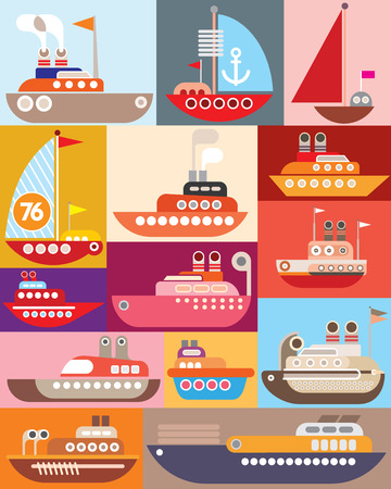 Ship and Boat - vector illustration. Maritime vessel. Vector