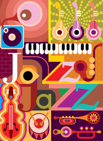 Jazz. Musical collage - vector illustration with musical instruments and inscription Jazz. Design with text. Vector