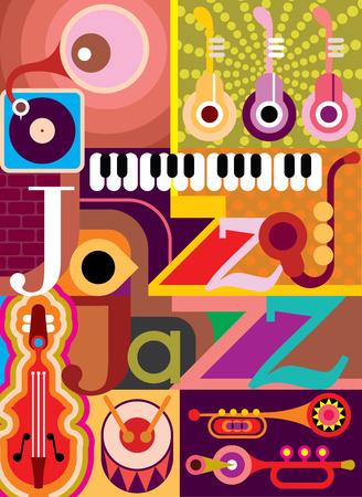 """Jazz. Muzikale collage - vector illustratie met muziekinstrumenten en inscriptie """"Jazz"""". Ontwerpen met tekst. Stock Illustratie"""