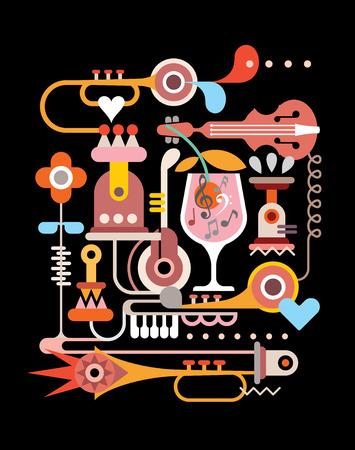 音楽パーティー - 黒の背景ベクトル イラスト。  イラスト・ベクター素材