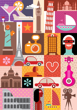 collage: Travel and Tourism - vector illustration.