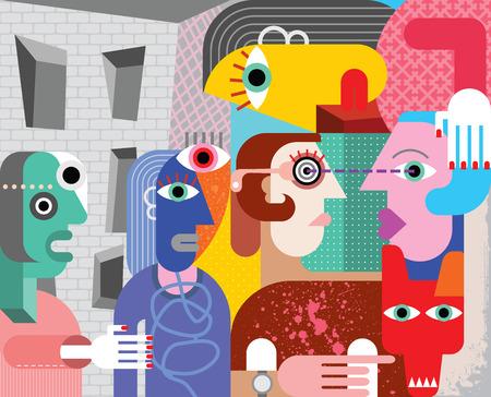 human abstract: Abstract art vector illustration. Illustration
