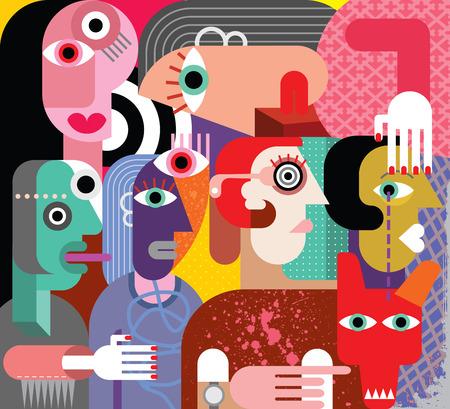 Zes vrouwen en hond - abstracte kunst vector illustratie.