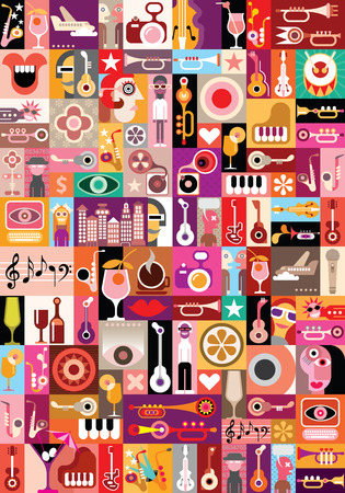 Art collage, musical vector illustration. Patchwork seamless wallpaper. Vector