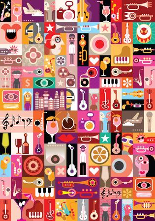 Kunst collage, muzikale vector illustratie. Patchwork naadloze behang. Stock Illustratie