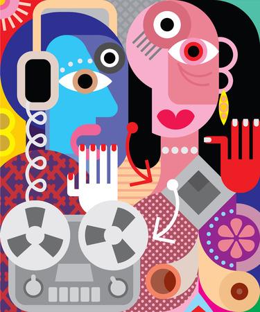 arte moderno: Pareja con grabadora retro - ilustración vectorial.