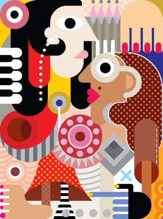arte abstrata: Homem e mulher arte ilustra��o.