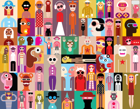 dress code: Large group of people. Art composition of abstract portraits - vector illustration. Can be used as seamless wallpaper.