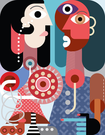 fine art portrait: A man with beard and a woman with roller skate contemporary abstract art illustration. Illustration