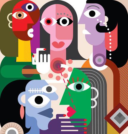 大規模な家族抽象アート イラスト。