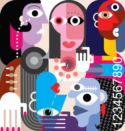 Human Relations Large group of people abstract art illustration.