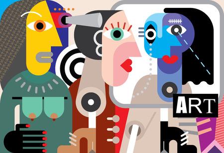 テキスト「アート」と抽象的な現代美術展イラストの訪問者  イラスト・ベクター素材