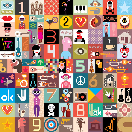 Art Collage of many different images. Vector illustration.