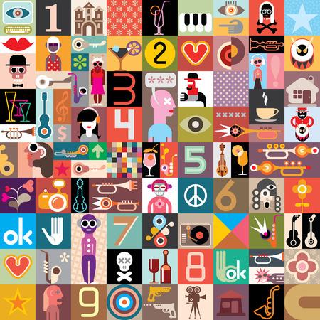 figuras abstractas: Collage Art de muchas im�genes diferentes. Ilustraci�n del vector.