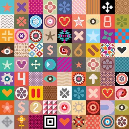 pop eye: Vector seamless wallpaper with abstract symbols and native patterns.