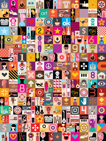 Art Collage of many different images. Vector illustration. Vettoriali