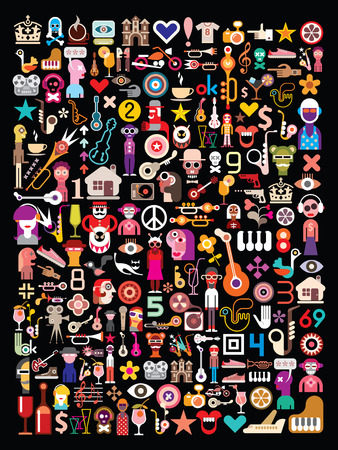 collage art: Collage of many different images on black background.  Vector illustration.