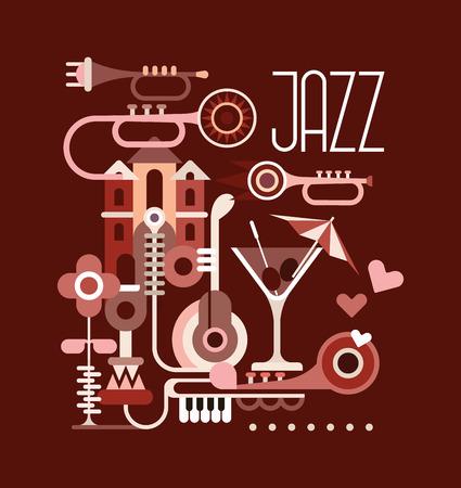 Graphic design with text Jazz. Vector banner on dark brown background. Vector