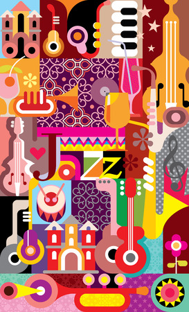 jazz band: Jazz Festival vector illustration. Graphic design with text Jazz.