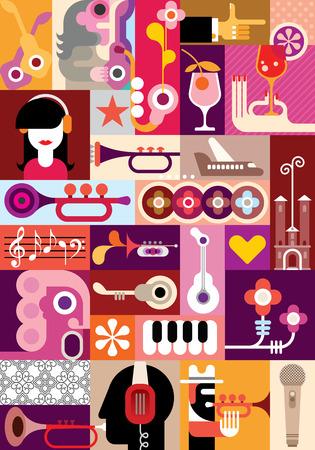 音楽祭 - ベクター グラフィック デザイン。いくつかの様々 な写真のコラージュ。