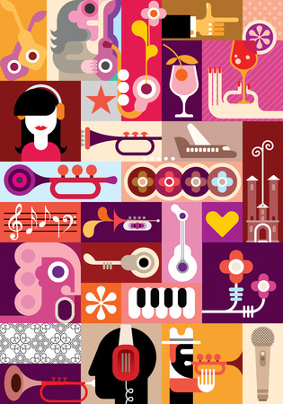 Music Festival - vector graphic design. Collage of some variety pictures.