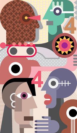 fine art portrait: Astratta Arte del ritratto di quattro persone. Immagine vettoriale.