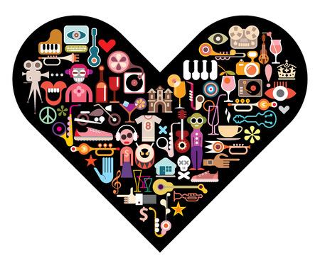 Dance Party. Instruments de musique et de nombreux objets différents sur la forme de coeur fond. Vecteurs