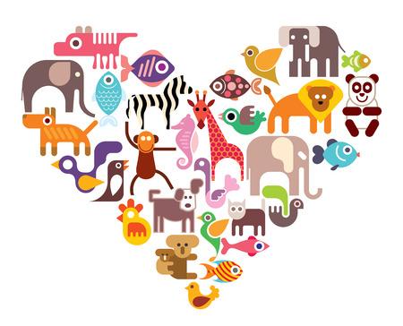 Hart met dier vector iconen. Geïsoleerde illustratie in kleur op een witte achtergrond.