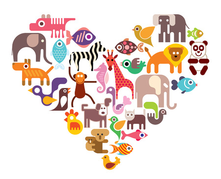 animals and pets: Heart with animal vector icons. Isolated color illustration on white background.
