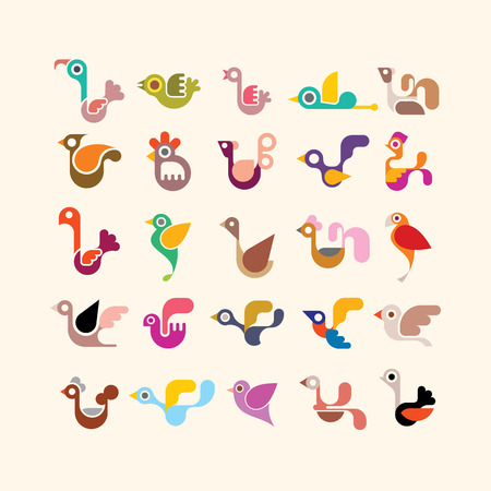 Birds - set of vector icons. Isolated on light background. Can be used as logo. Vector