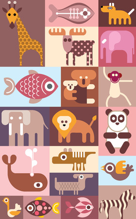 dingo: Zoo animals, birds and tropical fishes vector collage.