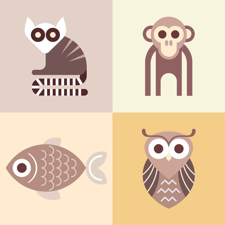 lemur: Monkey, Lemur, Fish and Owl - four vector animal icons. Can be used as logotypes. Illustration