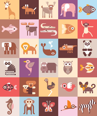 animales del zoo: Animales del parque zoológico - ilustración. Diseño gráfico con iconos variedad de animales.