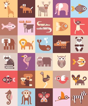 animaux zoo: Zoo Animals - illustration. Conception graphique avec des icônes variété d'animaux. Illustration
