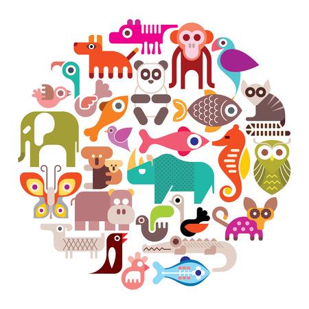 animales del zoologico: Animales, Aves y Peces - ronda ilustraci�n. Los iconos de colores aislados sobre fondo blanco.