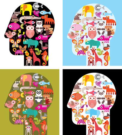 animal head: Four variants of human head with animal icons - illustration.  Illustration
