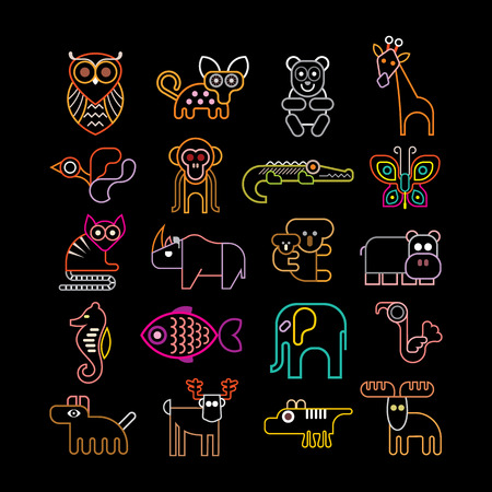 Set of isolated neon animal icons. Isolated on black background. Animals, birds and fishes. Çizim