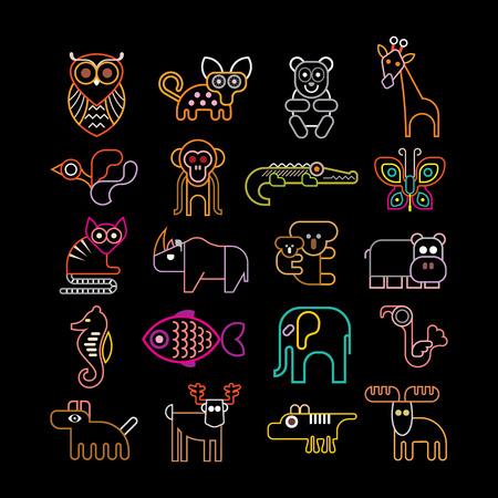 Set van geïsoleerde neon dierlijke pictogrammen. Geïsoleerd op zwarte achtergrond. Dieren, vogels en vissen.