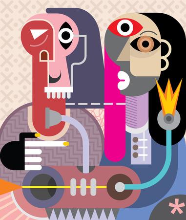 arte abstrata: Homem e Mulher - ilustra