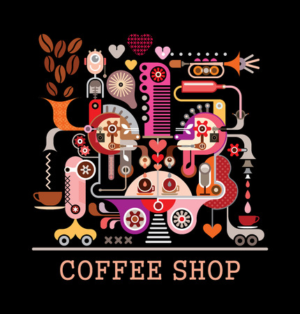 """Composición de arte abstracto en fondo negro. Diseño gráfico con el texto """"Coffee Shop"""". Ilustración de vector"""