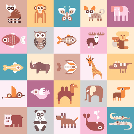 dingo: Animals, Fishes and Birds - illustration. Graphic design with variety animal icons.