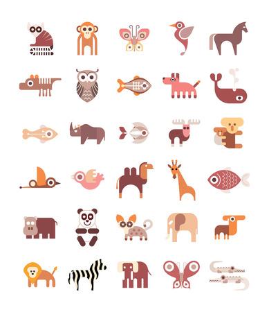 animales del zoologico: Animales, peces y aves - conjunto de iconos aislados sobre fondo blanco.