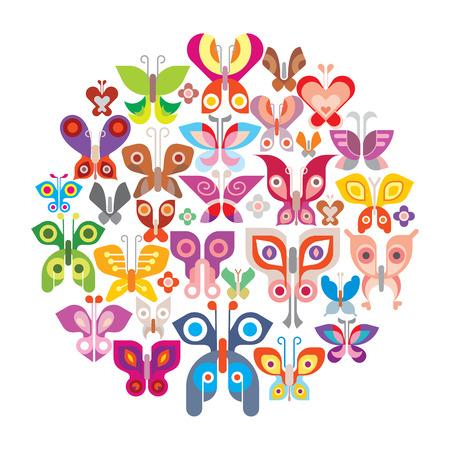 entomology: Butterflies round illustration. Isolated on white background.