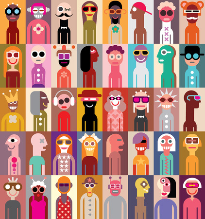 Large group of people. Art composition of abstract portraits - illustration. Can be used as seamless wallpaper. Vettoriali
