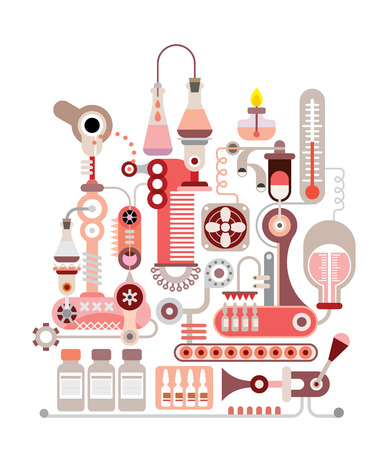 ampule: Chemical Laboratory - isolated vector illustration on white background.