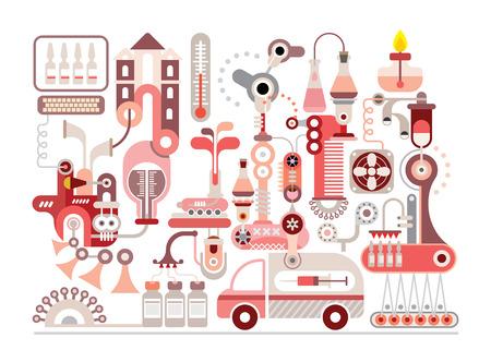 Forschungslabor und Pharmaindustrie - isoliert Vektor-Illustration auf weißem Hintergrund. Standard-Bild - 30741375
