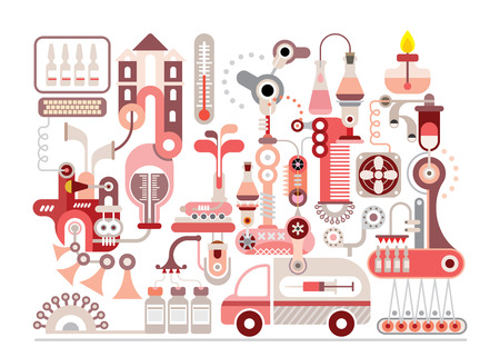 Pharmaceutical research: Research laboratory and pharmaceutical manufacture - isolated vector illustration on white background.